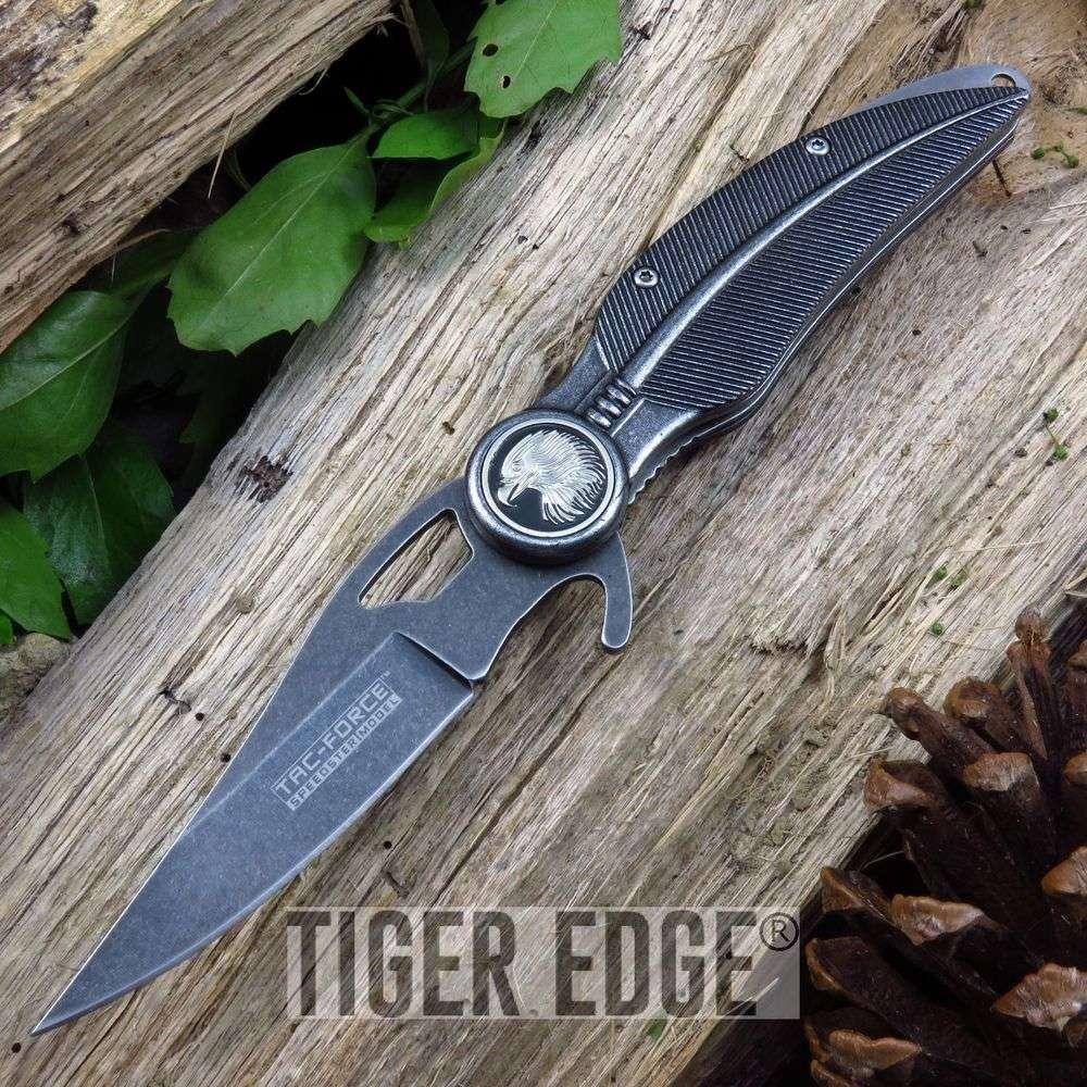 Spring Assist Folding Knife Tac Force Native Stonewash Indian Eagle Open Tf-904