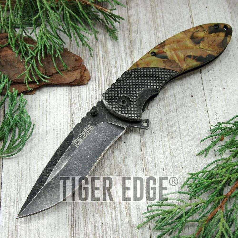 Spring-Assist Folding Pocket Knife Tac-Force Stone Gray Blade Camo Tactical 911C