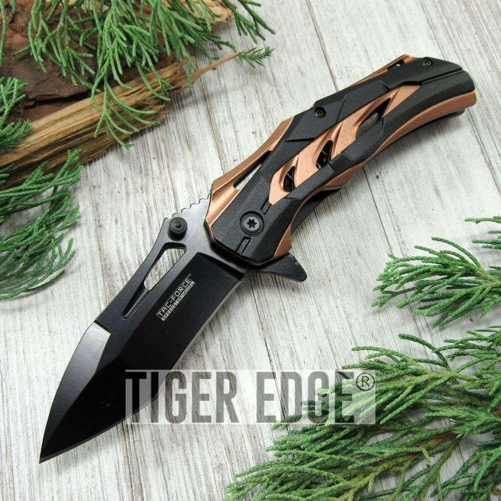 Spring-Assist Folding Pocket Knife Tac-Force Black Tanto Blade Tan Tactical Edc