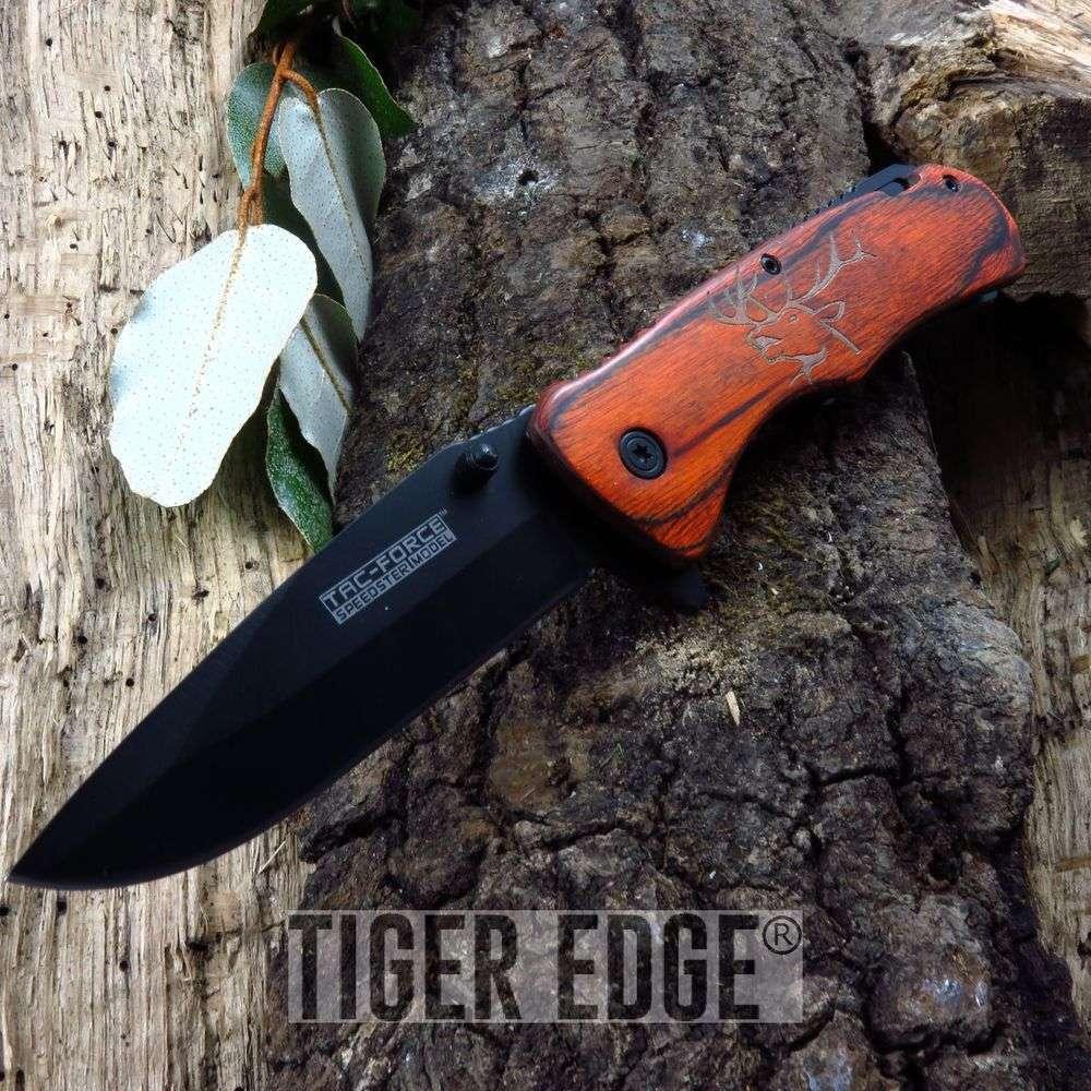 Spring-Assisted Folding Pocket Knife | Tac-Force Brown Elk Wood Black Blade