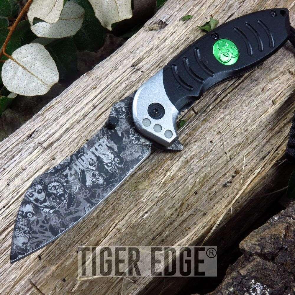 Z-Hunter Black Grey Razor Style Spring Assist Folding Knife Zombie Dead