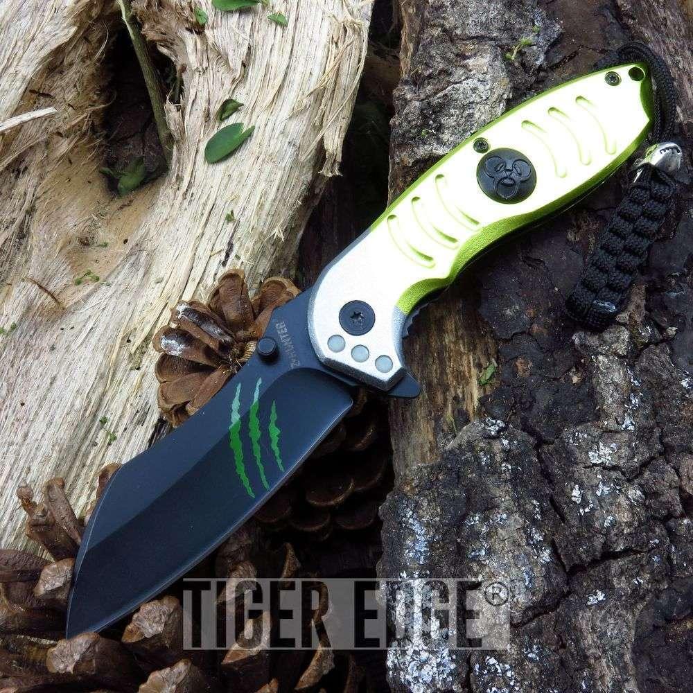 Z-Hunter Yellow Razor Style Spring Assist Folding Knife Zombie Dead Walking