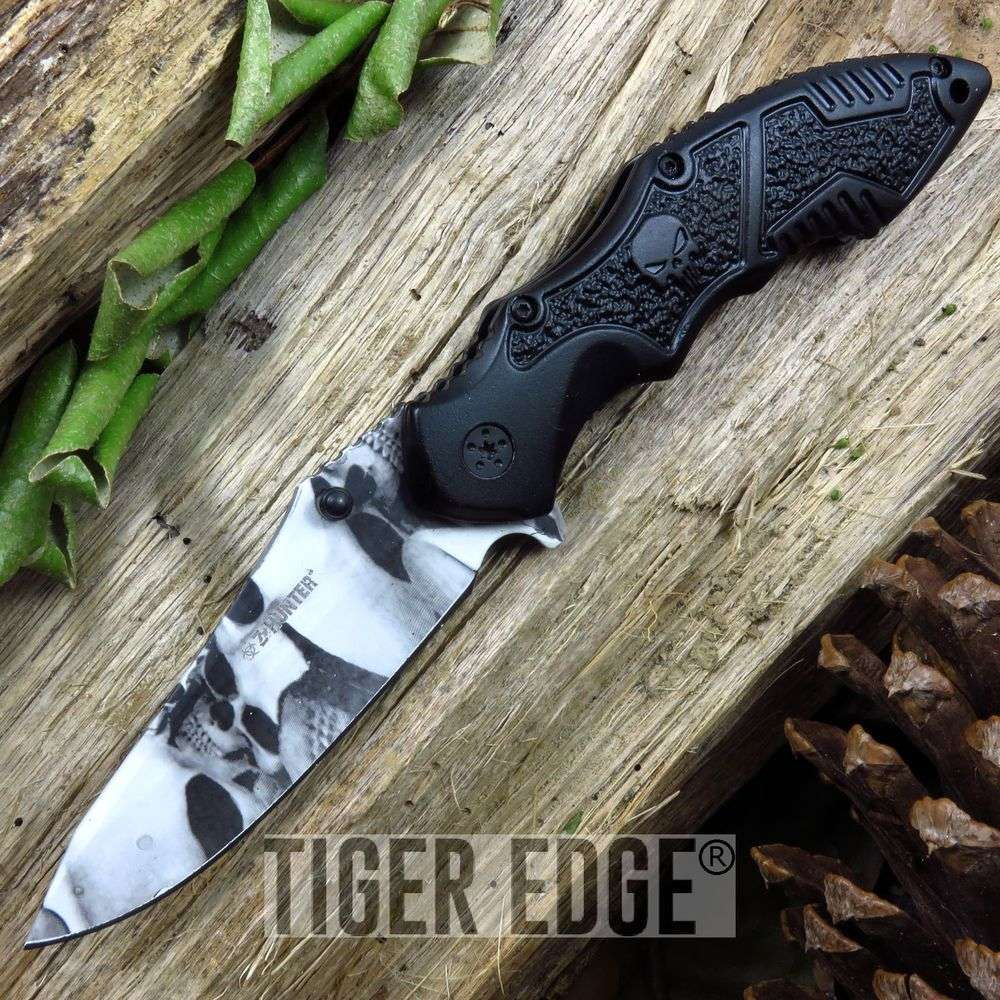 Z-Hunter Gray Zombie Skull Blade Black Handle Spring Assisted Folding Knife