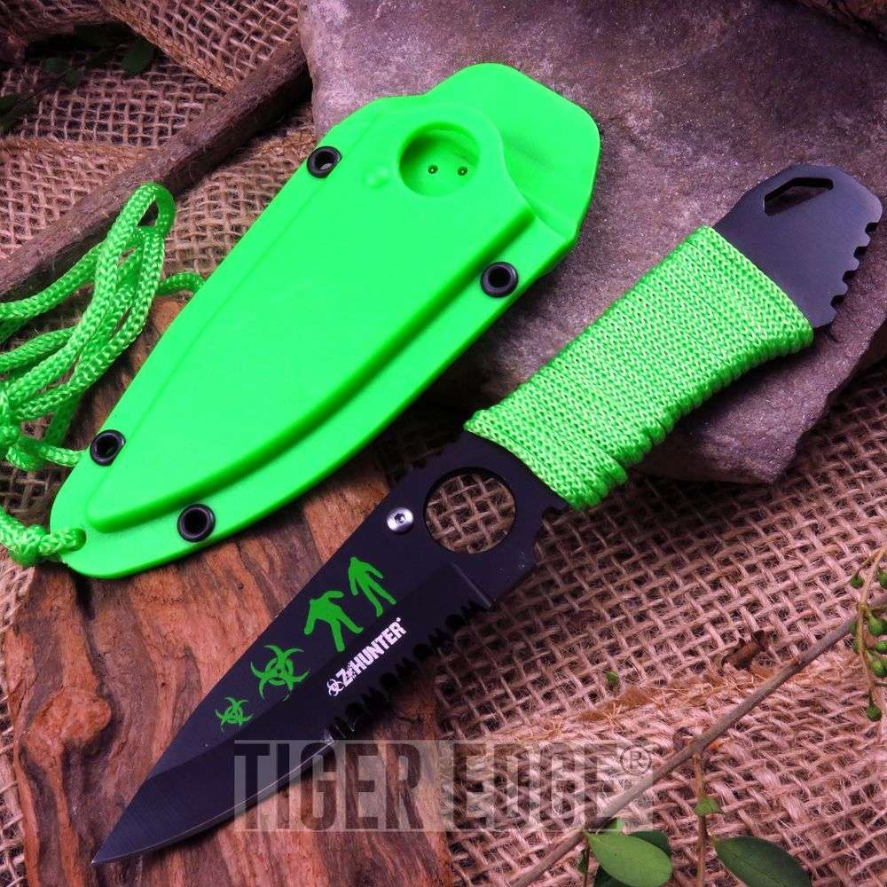 Z-Hunter Bright Green & Black Zombie Neck Knife Fixed Blade W/ Lanyard