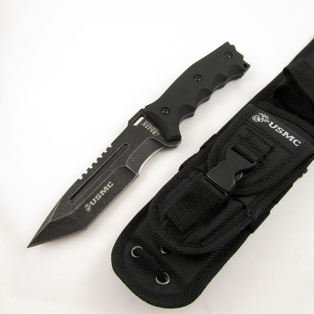NEW! Elite Tactical Official USMC Fixed-Blade Tanto Combat Knife w/ Molle Sheath   eBay