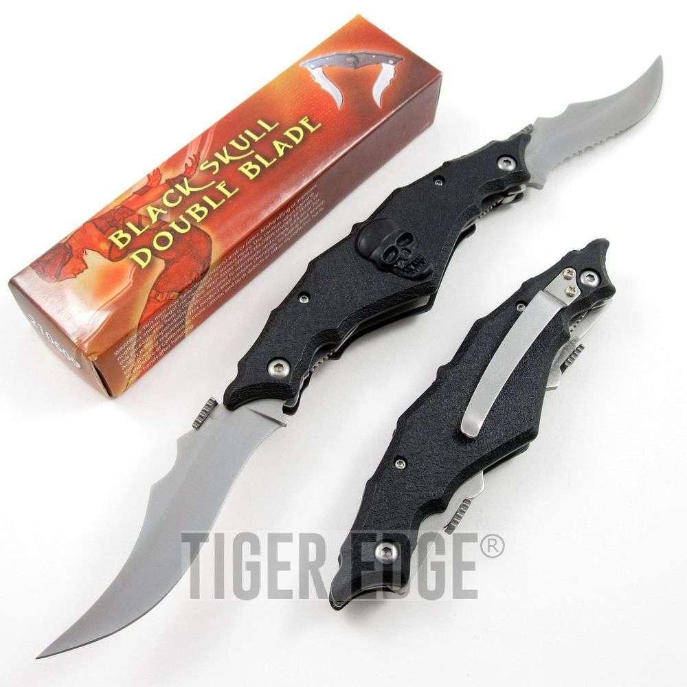 Folding Pocket Knife | Black Fantasy Pirate Skull 2 Blade Double Serrated