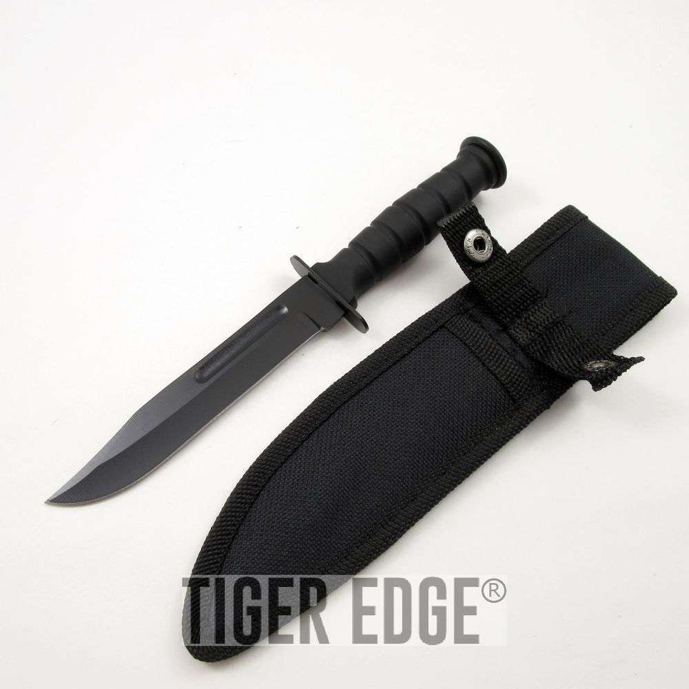 Fixed Blade Survival Knife 7 5 Quot Small Black Rubber