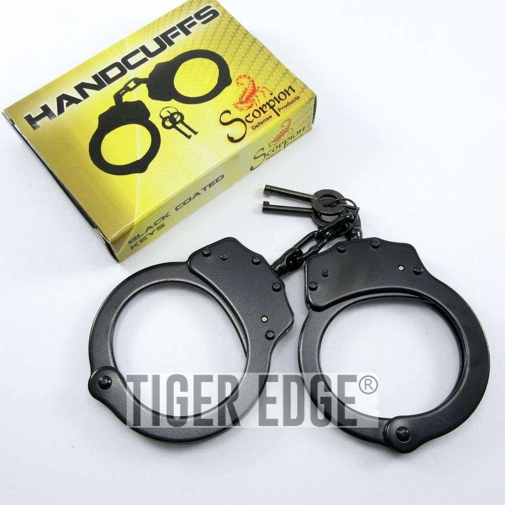 Handcuff Set | Classic Black Chain Hand Cuff Law Enforcement Police Gear