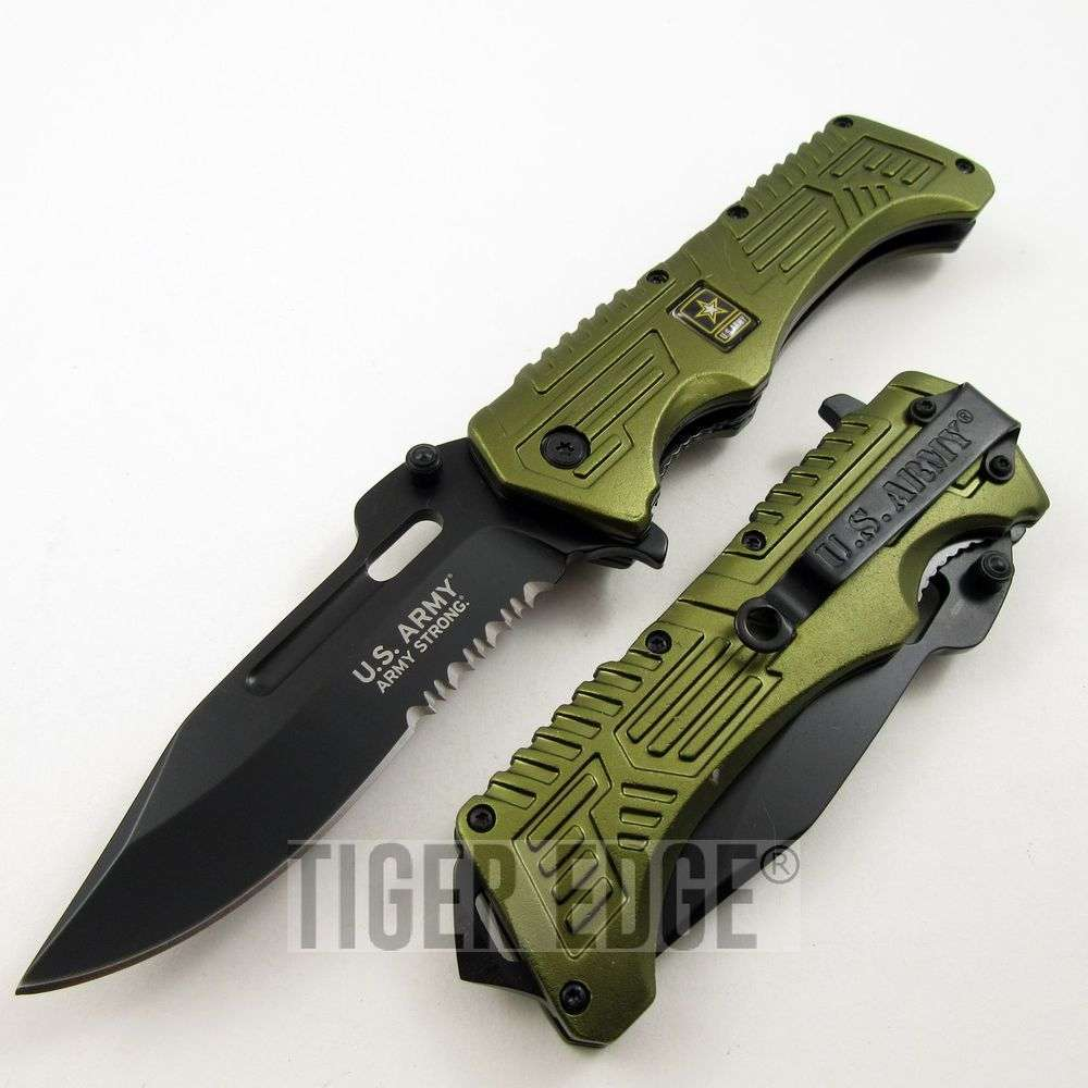 Us Army Green Serrated Spring Assist Folding Knife