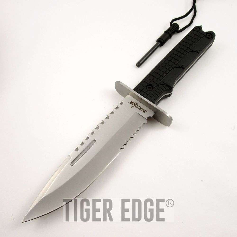 Fixed Blade Survival Knife 12 Quot Silver Serrated Military