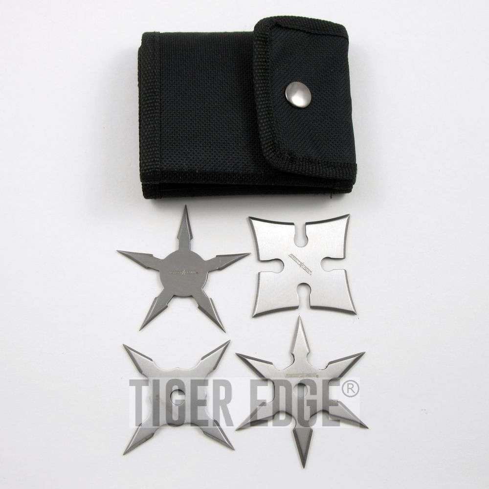 Small Silver Throwing Star Set 4-Piece Pack Ninja Samurai Shuriken