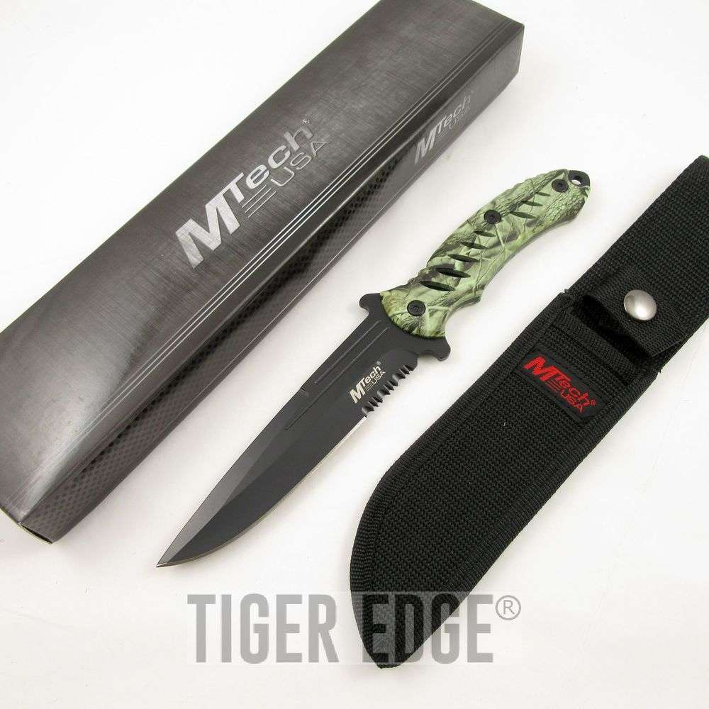 """Mtech Cleaver: 10.5"""" MTech Full Tang Leaf Camo Fixed Blade Knife"""