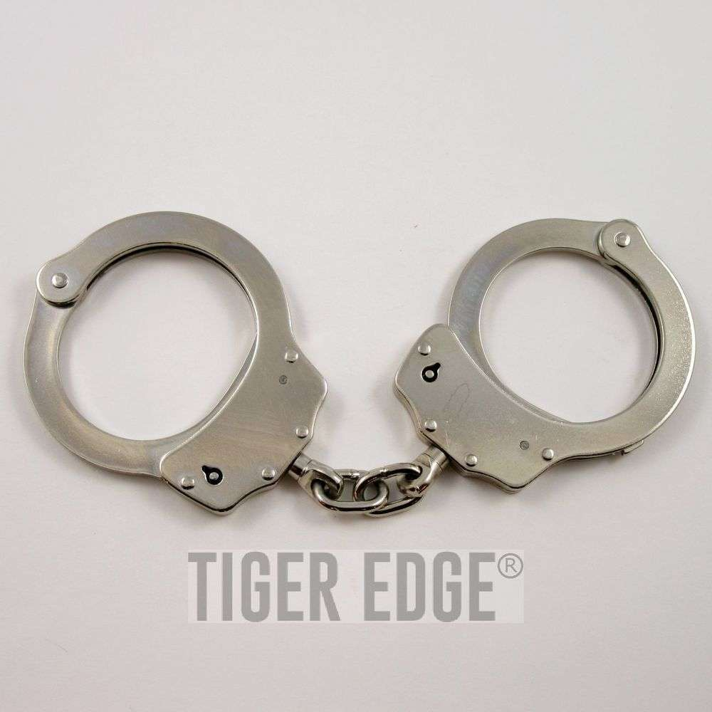 Nickel Plated Silver Double-Lock Handcuffs W/ 2 Keys