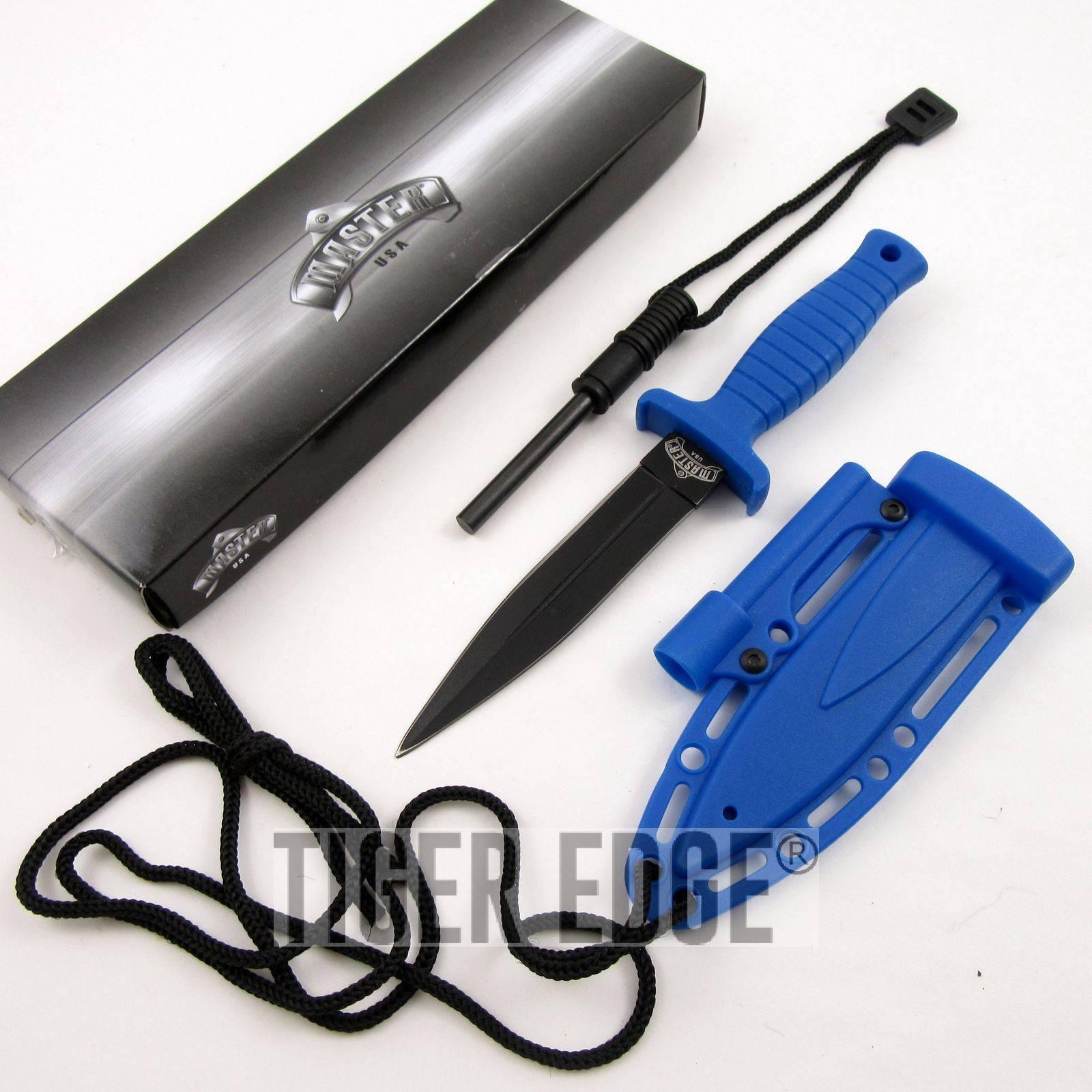 FIXED BLADE DAGGER Blue Firestarter Sheath Survival Tactical Boot Neck MU-1141BL