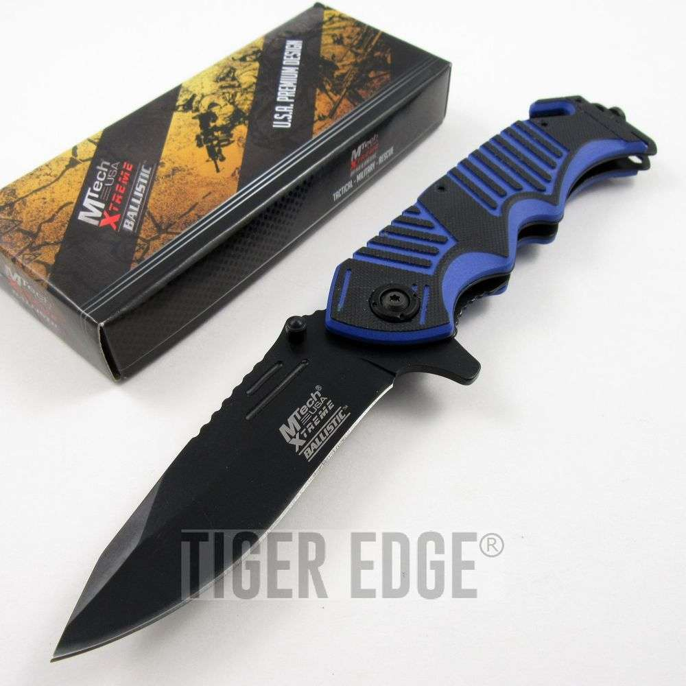 Mtech Xtreme Blue Rescue Spring Assist Folding Knife Rugged G10 Edc