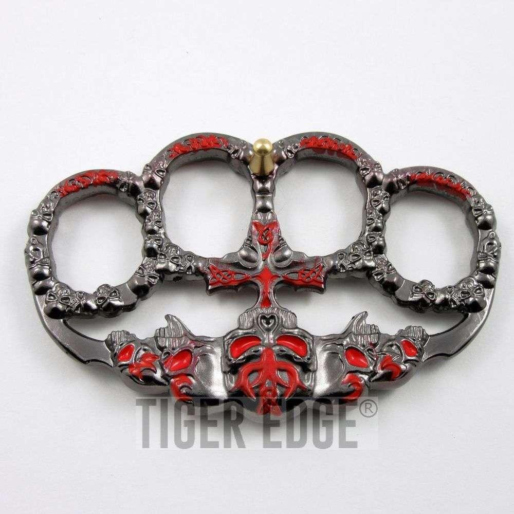 Brass Knuckle   Skull Red Dark Silver Paperweight Goth Punk Biker Duster