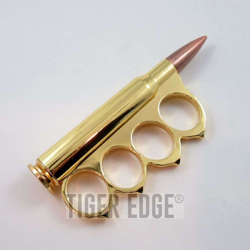 Brass Knuckle   Gold 30-06 Rifle Bullet Ammo Paperweight Western Biker Duster