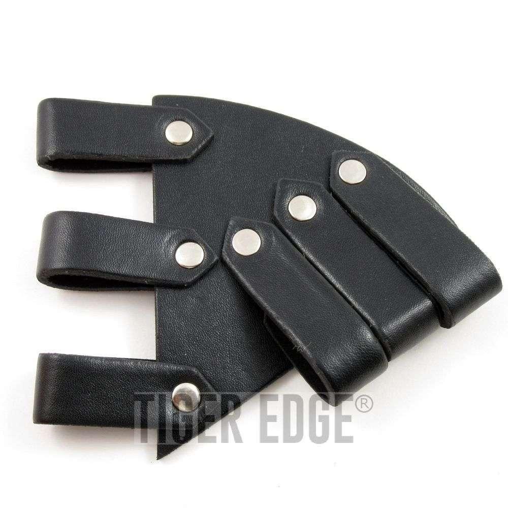 Universal Angled Strappy Black Leather Sword Frog Blade Holder Medieval