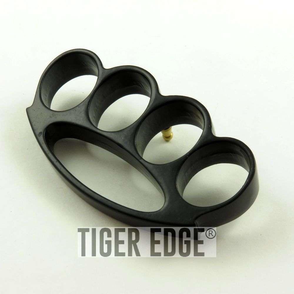 Sleek Rounded Black Brass Knuckle Self Defense Paper Weight  Belt Buckle