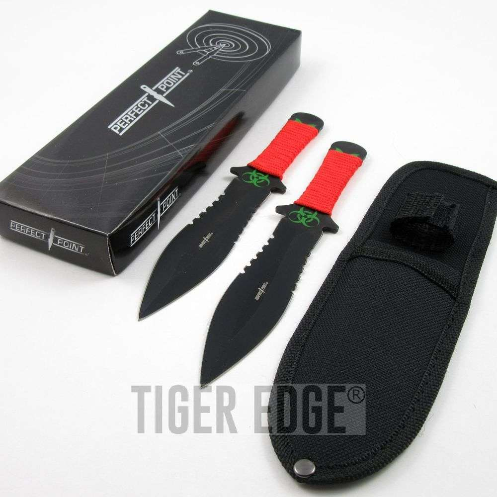 "Throwing Knife Perfect Point 7.5"" Red Tactical Zombie 2Pc Combat Set + Sheath"