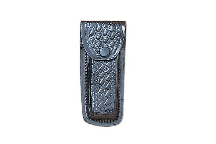 "Textured Black Genuine Leather Belt Sheath For 4"" Folding Knife"