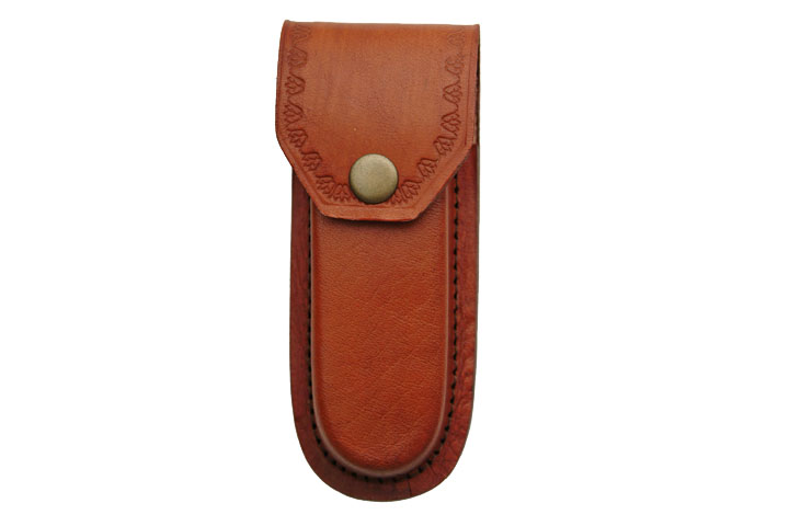 Folding Pocket Knife Sheath | Brown Leather For 5