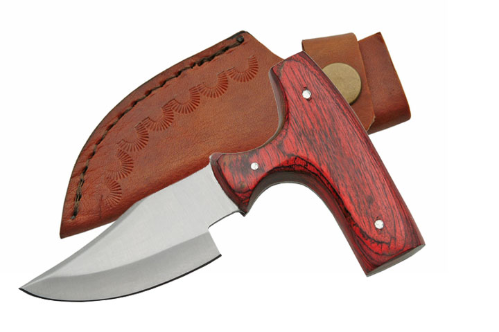 "5"" Overall Wood Handle Push Dagger with Leather Sheath"