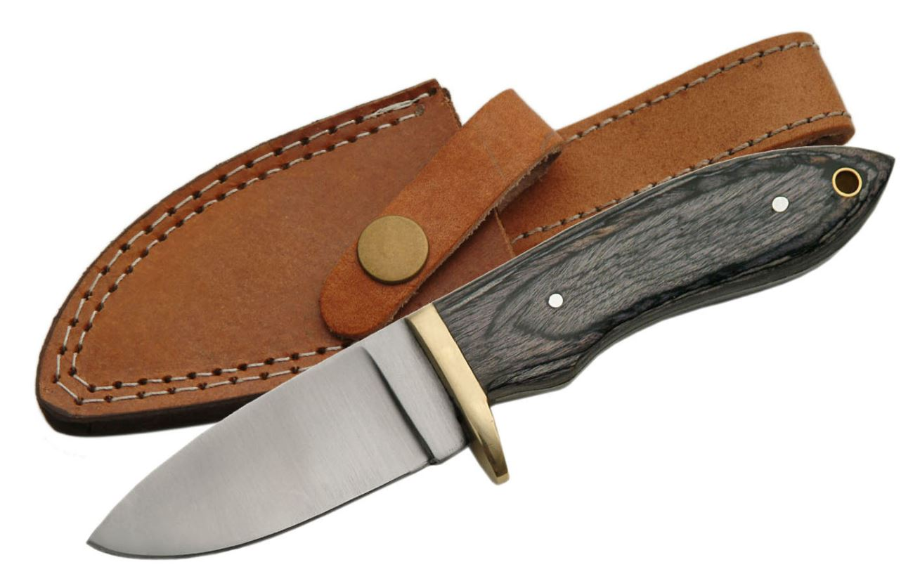 "Hunting Knife | 3.5"" Stainless Steel Blade Black Wood Skinner + Leather Sheath"