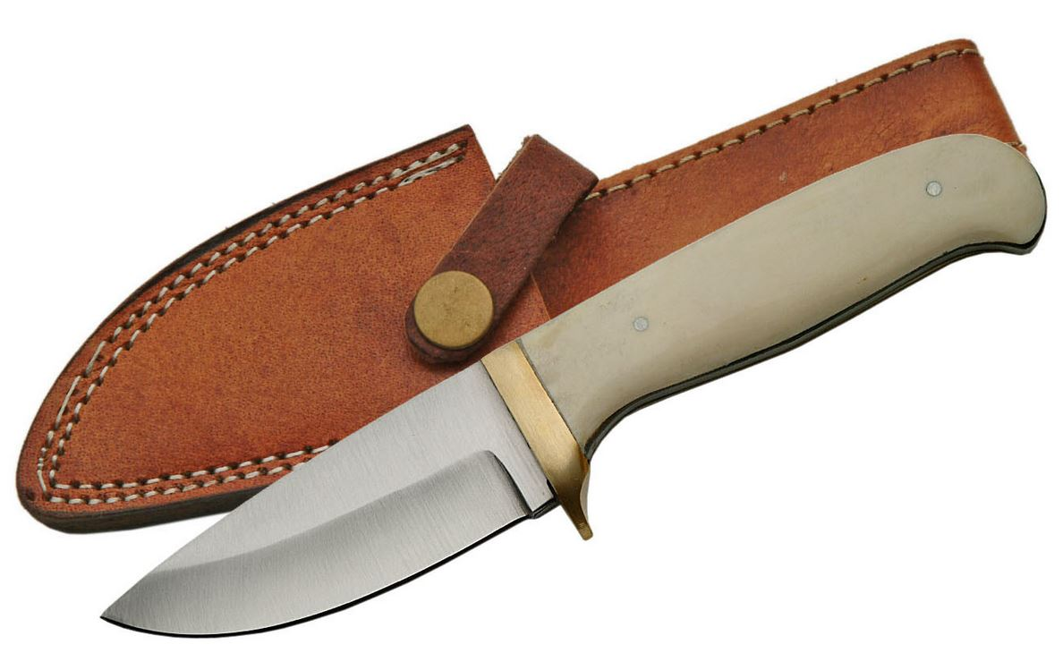 "Fixed-Blade Hunting Knife | 3.5"" Blade Real Bone Handle Full Tang + Sheath"