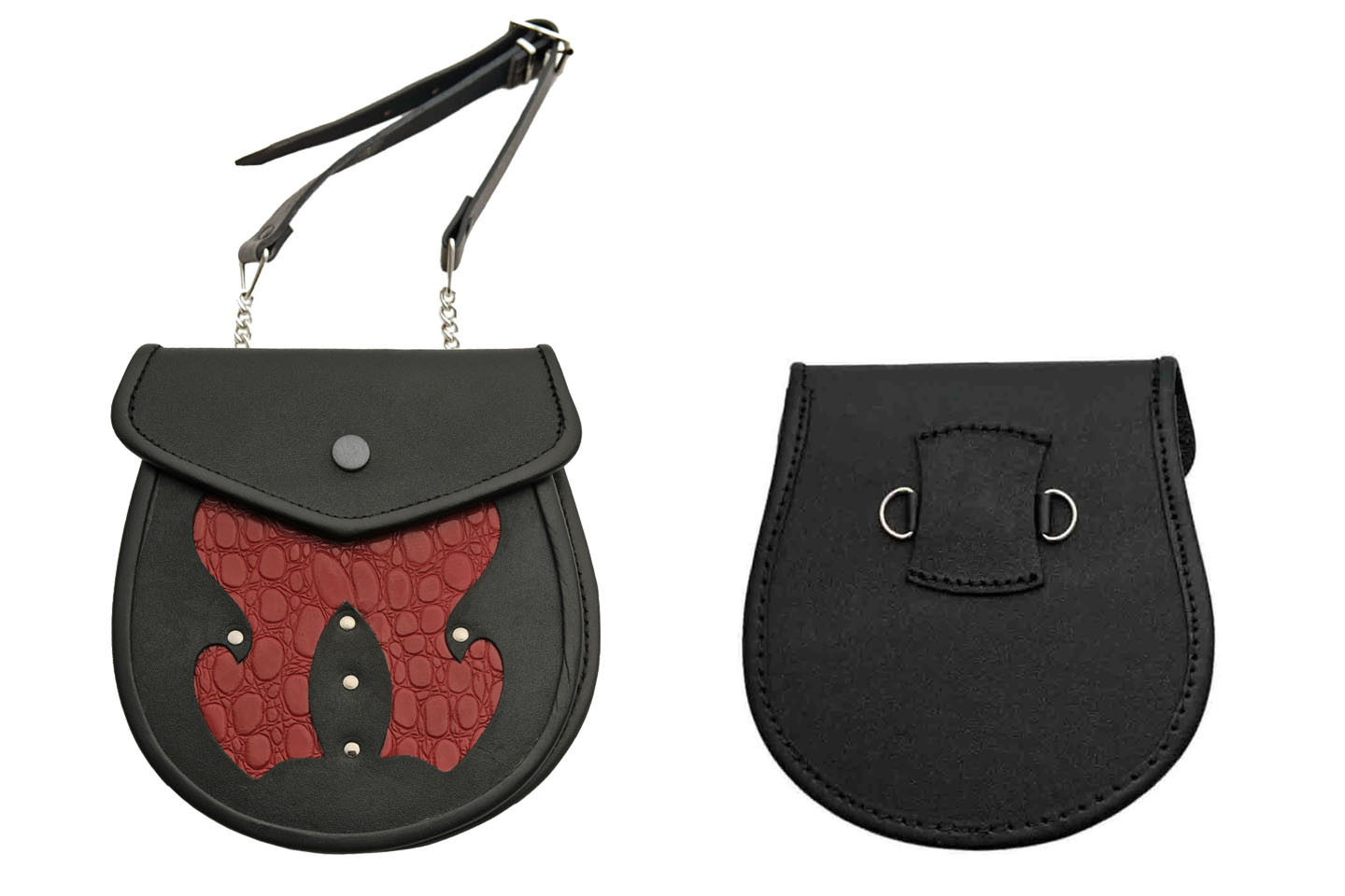 Medieval Belt Bag   Black Red Real Leather Day Sporran Pouch Purse