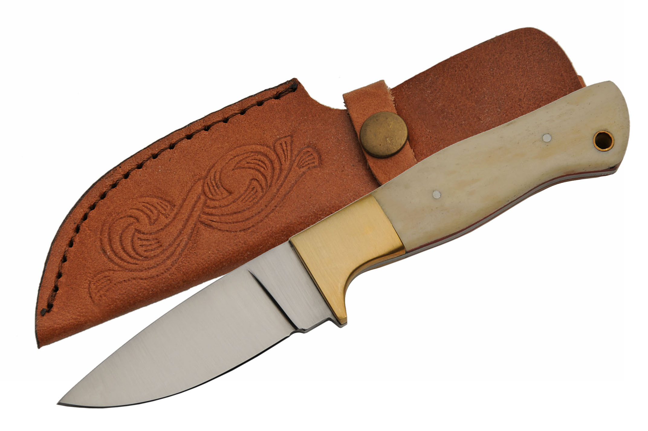 "Hunting Knife | Rite Edge 8"" Overall White Bone Skinner Blade + Leather Sheath"