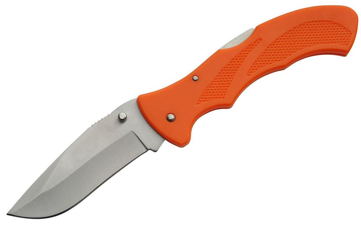 Folding Pocket Knife | 5'' Closed Orange Large Low-Cost Lockback Utility Blade