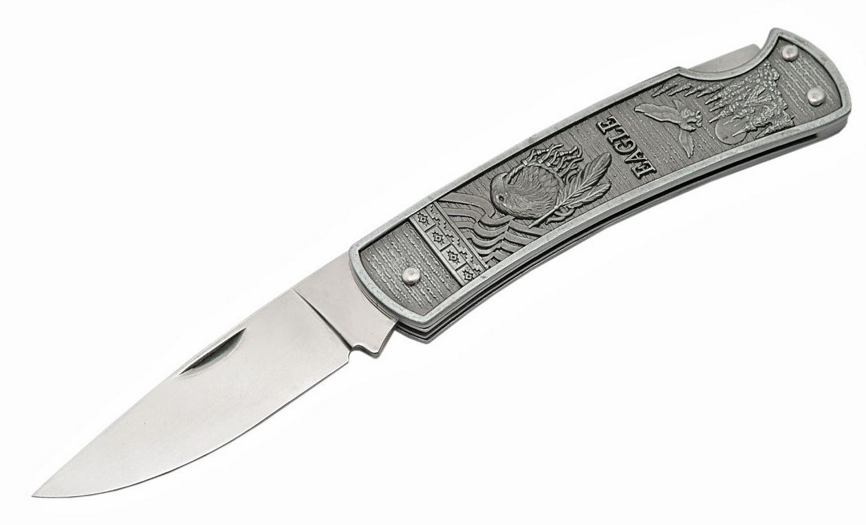Folding Pocket Knife   4.5'' Gray Eagle Mirror Finish Stainless Blade Lockback