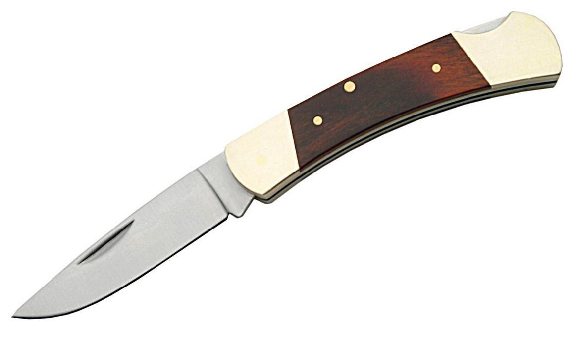 Folding Pocket Knife | 3.5'' Brown Wood Brass Handle Lockback Stainless Blade