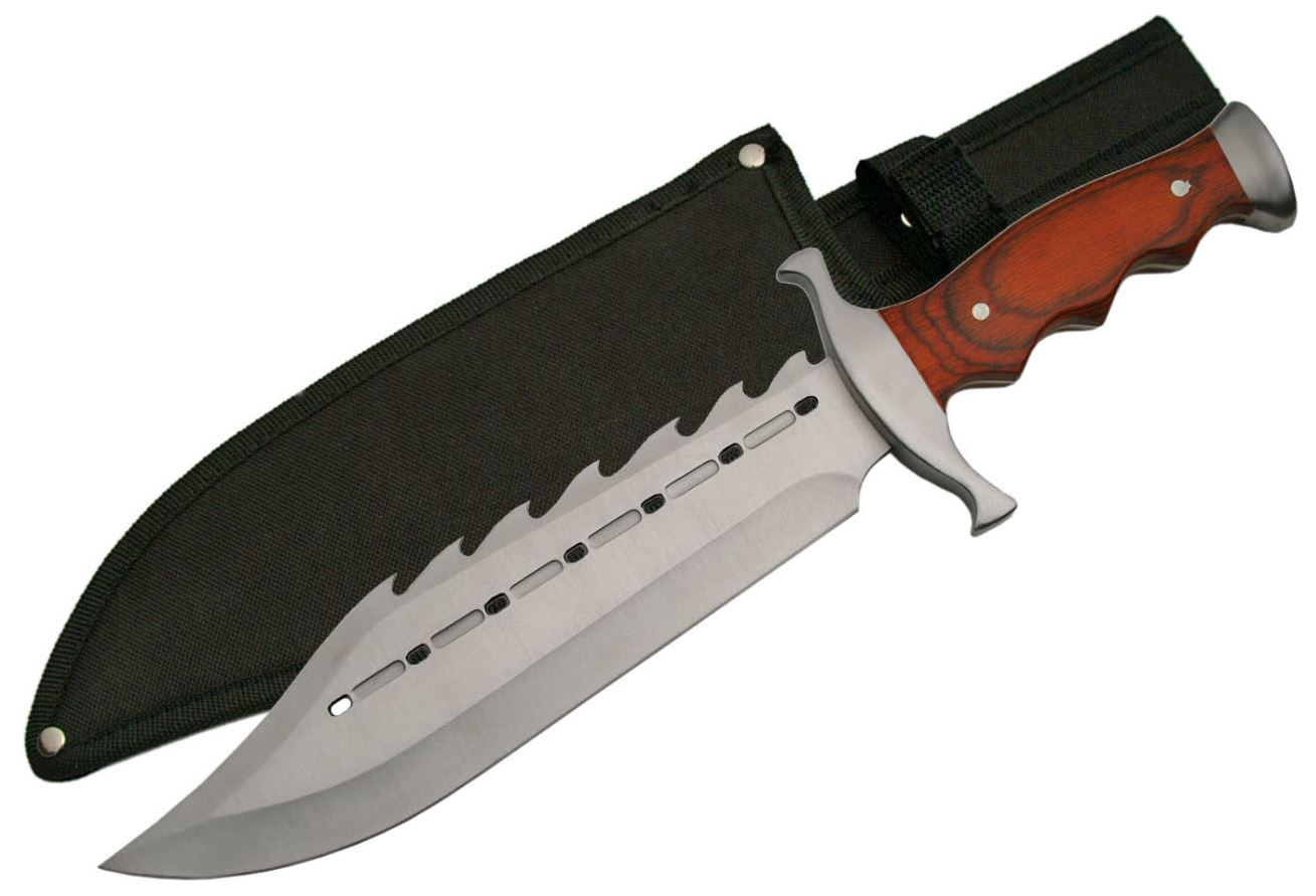 "Hunting Knife 15"" Overall Wood Handle Gator Back Hog Hunter Skinner + Sheath"