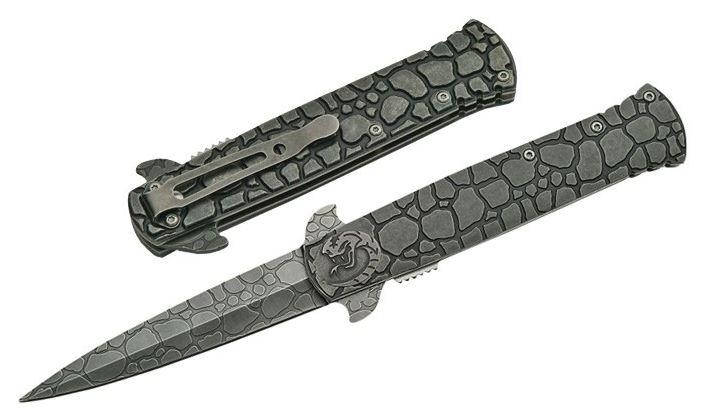 Spring-Assist Folding Knife Gray Stonewash Steel Cobra Stiletto Blade Tactical
