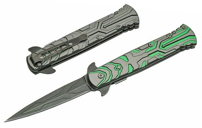 Spring-Assist Folding Knife Green Gray Stone Transform Stiletto Blade Tactical