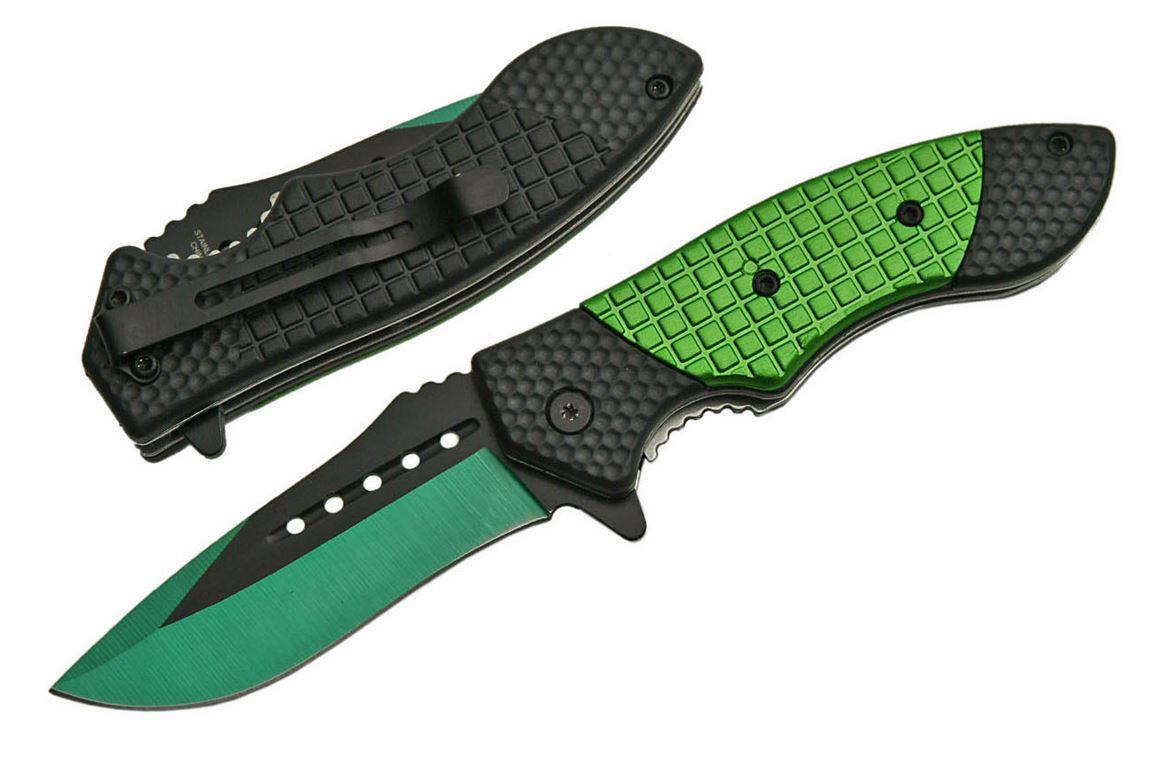 Spring Assisted Folding Pocket Knife | Black Green Blade Checker Tactical Edc