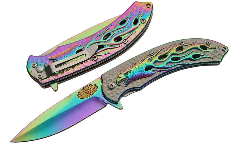Spring-Assist Folding Pocket Knife | American Flag Eagle Flame Patriotic Rainbow