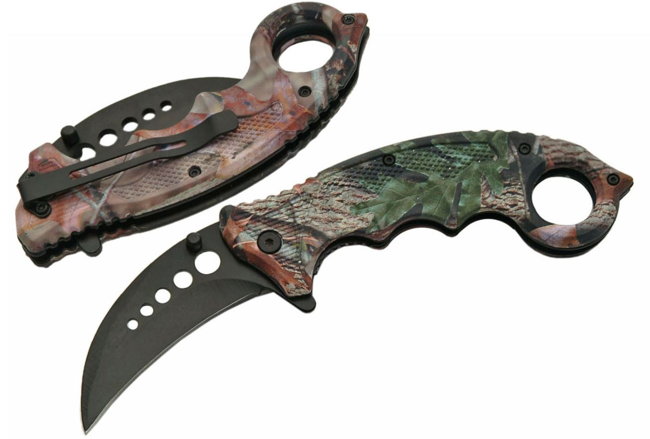 "Spring-Assist Karambit Folding Knife | Low-Cost 3"" Black Blade Camo Hunter Edc"