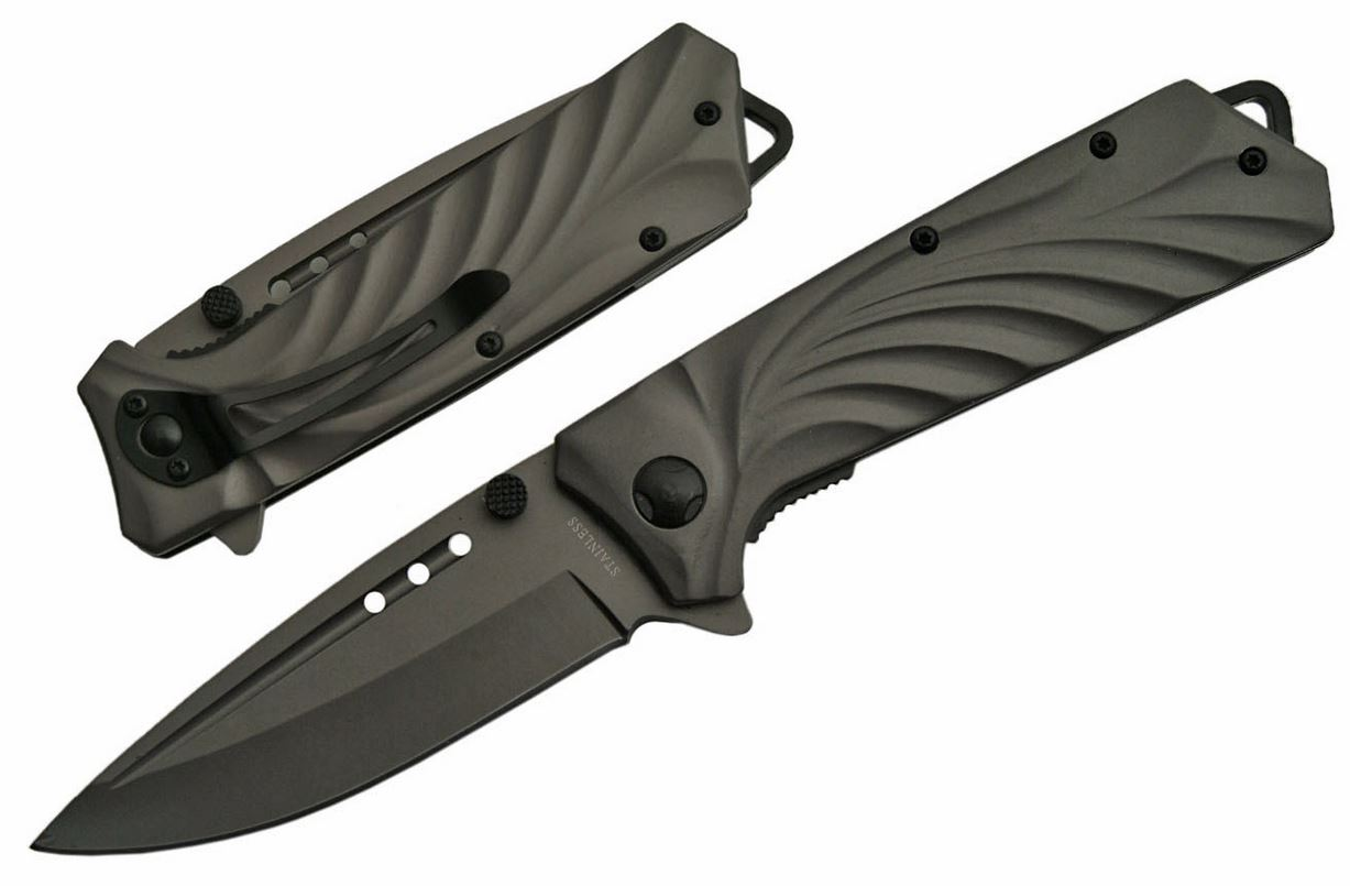 "SPRING ASSIST FOLDING KNIFE | 3.5"" Blade Gray Gunmetal Heavyweight Glass Breaker"