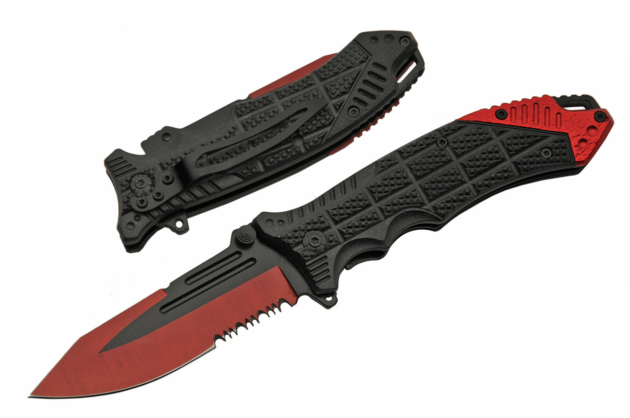 Spring-Assist Folding Knife | Black Red Rite Edge Serrated Blade Edc Low Cost