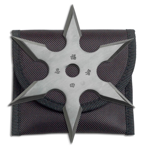 "4"" Six-Point Silver Throwing Star Anime Ninja Throwing Shuriken Knife"