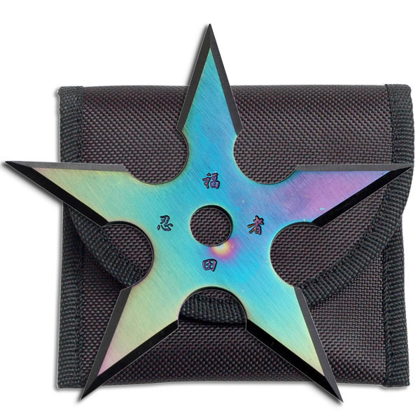 "4"" Single Rainbow Throwing Star Anime Ninja Throwing Shuriken Knife Manga"