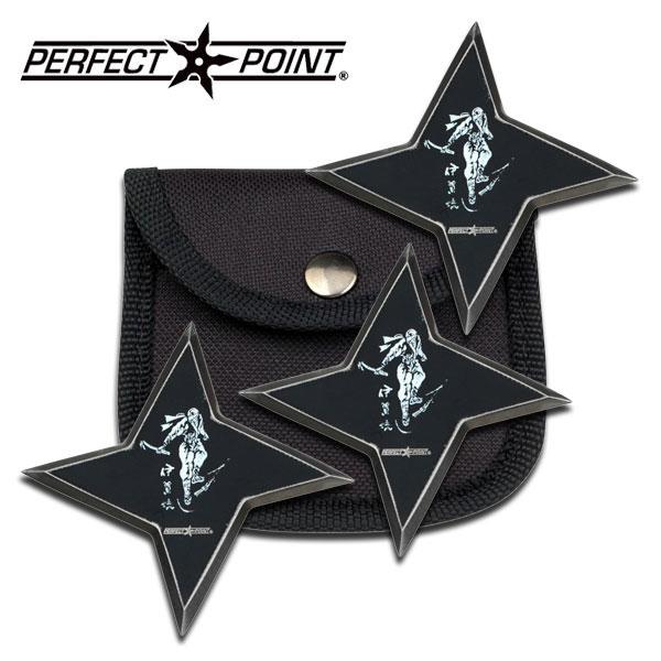 Three Piece Ancient Samurai Throwing Star Black Shuriken Knife Set