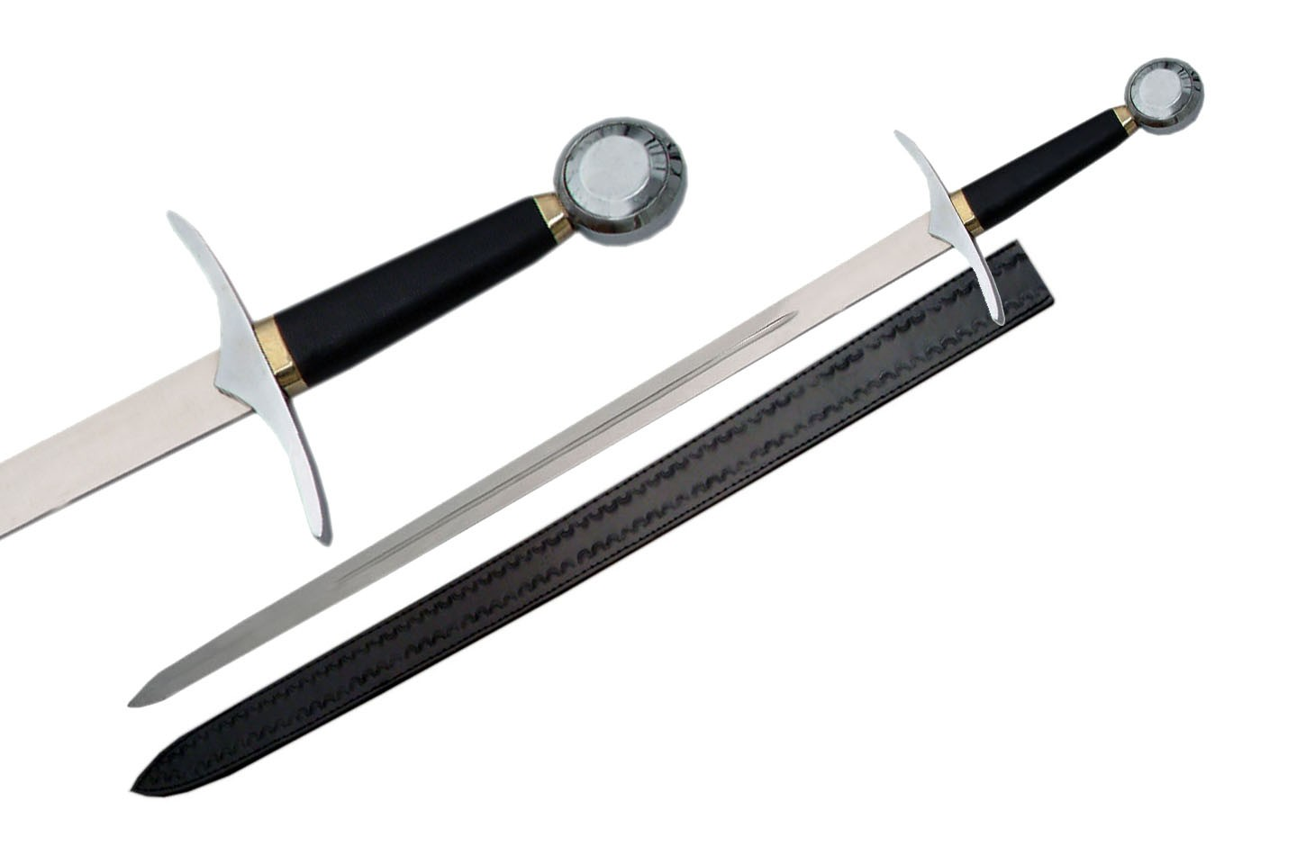 "Medieval Long Sword | 41.75"" Overall Silver Blade Knight Replica Reenactment"