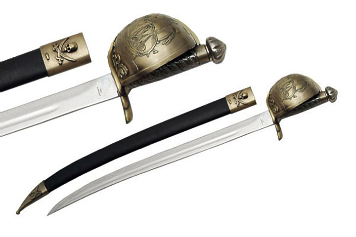 "29.5"" Brass Guard Skull And Crossbones Pirate Cutlass Sword"