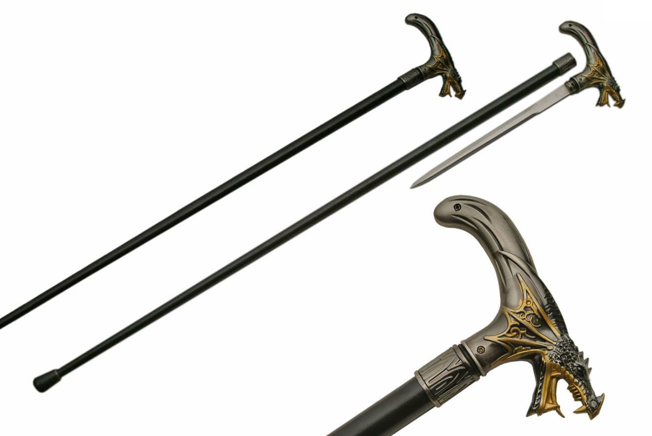 "Sword Cane | 36"" Overall Gray Black Gold Dragon Walking Stick + Hidden Blade"
