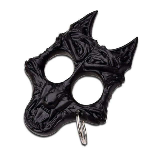 Black Guard Dog Hard Nylon Fiber Knuckle Defense Keyring