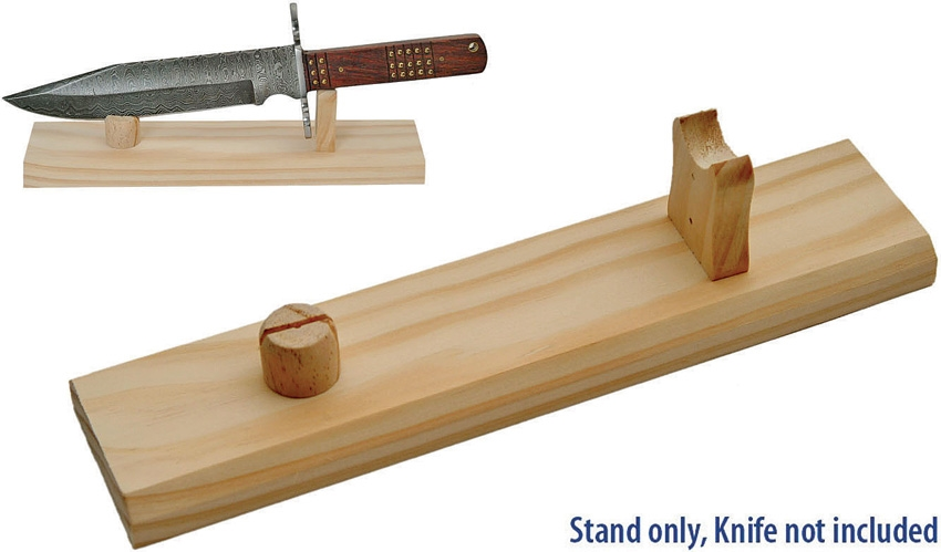 Knife Stand - Natural Unfinished Wood Tabletop Display For Single Knife